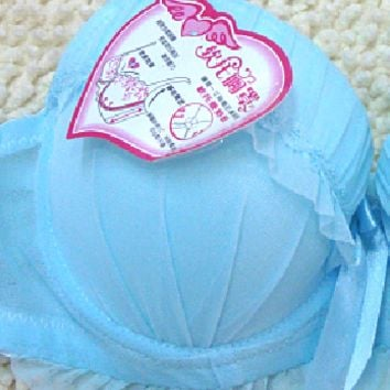 Net gauze bow jacquard weave breathable young girl bra skyblue -size 80A