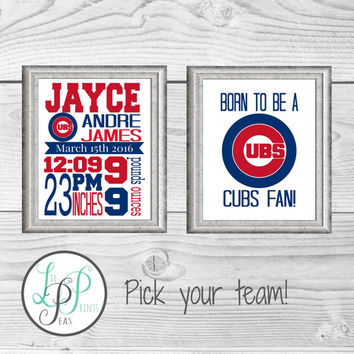 Chicago Cubs Birth Stats Print, Cubs Nursery, Chicago Cubs Decor, Baseball Nursery Decor, Baby Boy Nursery Decor, Baby  Chicago Cubs Fan