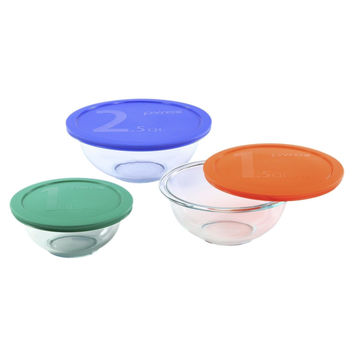 Pyrex Smart Essentials 6-Piece Glass Mixing Bowl Set 6 piece set