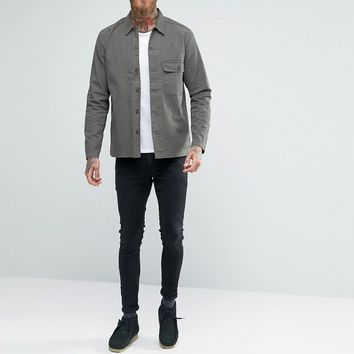 ASOS Military Overshirt In Khaki With Long Sleeves