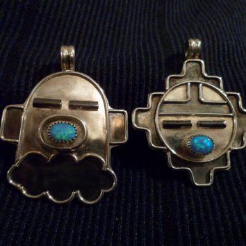 Authentic Navajo,Native American,Southwestern,sterling silver,opal Yei' Bi Chei pendant/necklace.