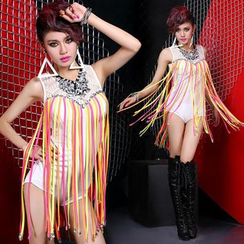 Brand New Designer Women Dance Costumes Dance Wear Sleeveless Colorful Fringed Cllar White Leotard Sexy Teddies/bodysuits