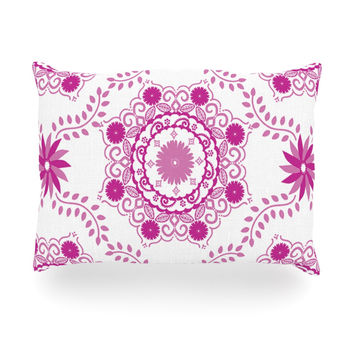 "Anneline Sophia ""Let's Dance Fuschia"" Pink Floral Oblong Pillow"