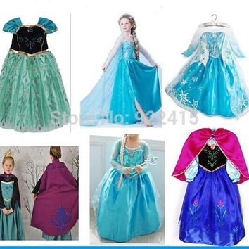 kids Carnival Clothing ice Elsa Costume Size For Kids Princess Dress Sequined Cosplay party Costume Anna Dress girl dresses