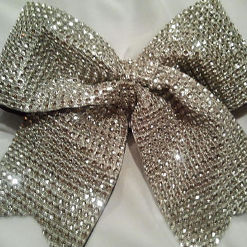 "Bling Cheer Bow! Silver 3"" Texas Size Sparkly ""Rhinestone"" Bow-Choose Other Colors! Team Cheer Bow Discounts! Competition Quality Luxury Bow"