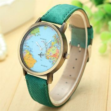 Relogio Feminino World Map watch clock women Checkers Ladies dress watch, women's Casual quartz-watch women's wrist watch