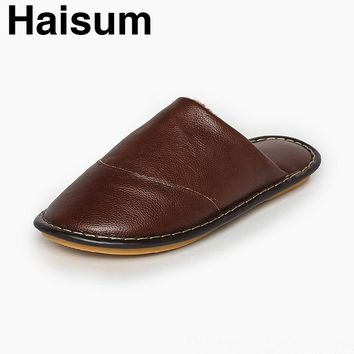 Haisum Men's Winter Cow Leather Slipper Non-Slip Soft Warm Cozy Lining Closed Back Outdoor House Slipper H-8005