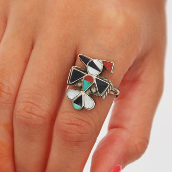Vintage 70s ZUNI Ring PEYOTE Bird Ring Native American THUNDERBIRD Sterling Silver Ring Onyx Mother of Pearl Handcrafted Ring Size 9