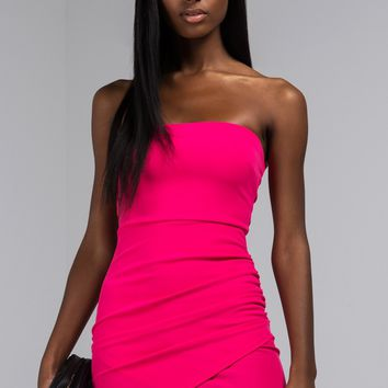 AKIRA Label Strapless Bodycon Mini Dress with Asymmetrical Ruched Side in Fuchsia