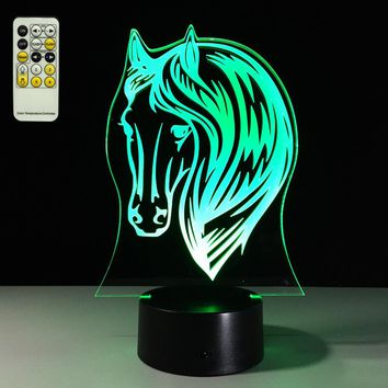 3D LED Horse Head Lamp With 7 Changable Colors