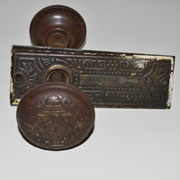 Antique Metal Door Knob Set Vintage Door Knob Antique Door Hardware Door Knob Set with Plates
