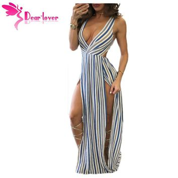 Dear Lover Jumpsuit Summer Sexy Blue White Striped Knot Back Sleeveless Rompers Vestidos Overalls clubwear women outfits LC64306