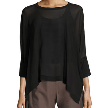 Eileen Fisher Sheer Round-Neck Silk Georgette Top and Matching Items