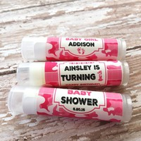 Baby Shower Custom Lip Balm – Pink Camo Theme