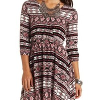 Bar-Back Tribal Print Wrap Dress by Charlotte Russe - Black Combo