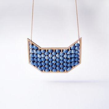 ombre geometric weave necklace . laser cut wooden . blue gradient . the adriatic sea . 14k gold filled chain