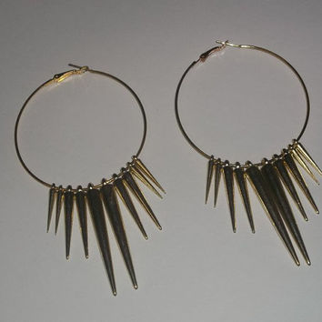 Gold Basketball Wives Jersey Shore Inspired Spike Earrings