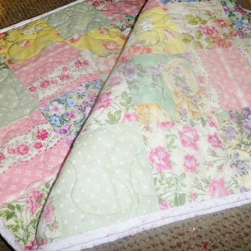 Handmade Shabby Cottage Chic Bed Runner or Long Table Runner in pastels Free Shipping in Usa