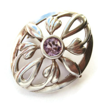 Vintage Kit Heath sterling silver and amethyst brooch, Art Nouveau style with cicely leaves. #220.