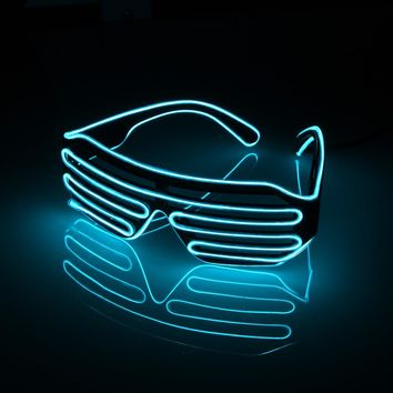 LED Glasses Flashing EL Wire Luminous Party Decorative Lighting Classic Gifts Bright Light Activing Props Festival Party Gifts