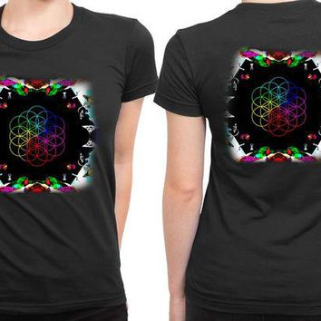 VONEED6 Coldplay A Head Full Of Dreams Cover Album Invert 2 Sided Womens T Shirt