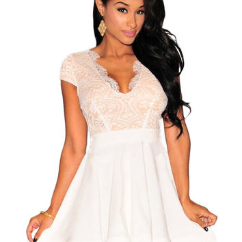 White Lace Nude Illusion Key-Hole Back Flared Dress