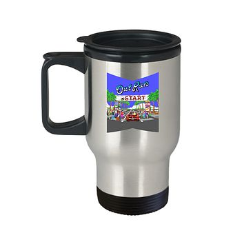 Out Run Car Arcade Vintage Video Game Travel Mug