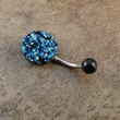 Iridescent Druzy Belly Button Jewelry Ring Blue Emerald Green