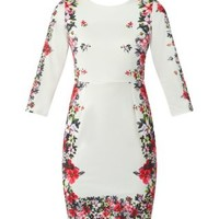 White 3/4 Sleeve Floral Print Edge Bodycon Dress