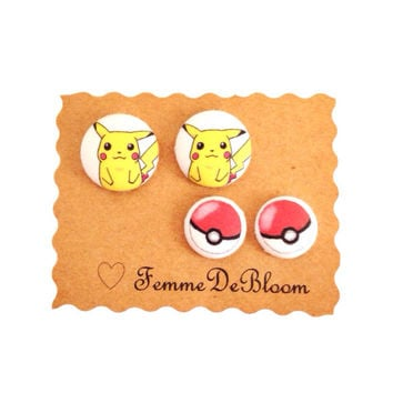 Handmade Pikachu and Pokeball Earring Set - Custom Pokemon Available - Pokemon Jewelry