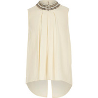 Girls cream embellished neck shirt