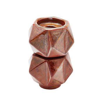 857133/S2 Small Ceramic Star Candle Holders In Russet - Set of 2