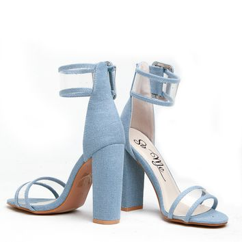 Denim Vinyl Ankle Strap Chunky Heels @ Cicihot Heel Shoes online store sales:Stiletto Heel Shoes,High Heel Pumps,Womens High Heel Shoes,Prom Shoes,Summer Shoes,Spring Shoes,Spool Heel,Womens Dress Shoes