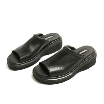 Vintage 90's Dr. Martens Black Leather Sandals, Peep Toe Platforms Slip -on Mules - EUR 37/ US 6.5 / UK 4