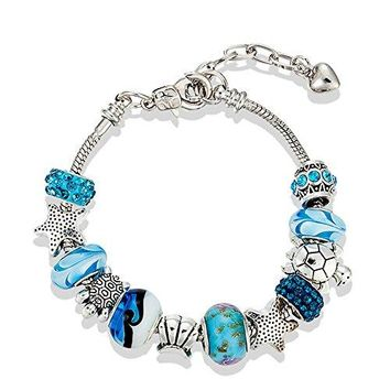 European Ocean Beach Charm Beaded Adjustable Chain Bracelet 75 Inch + 15quot for Women and Teen Girls Sea Starfish Turtle Shell Aquamarine Murano Glass Beads Prime Quality Gift 925 Silver Plated