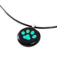 Dog Paw Pendant Necklace - Blue Green Dichroic Art Glass Jewelry - Animal Lovers