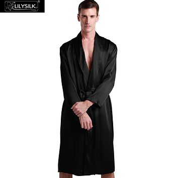 Lilysilk 100% Silk Mens Long Kimono Style Robe Male Dressing Gown 22 Momme Long Sleeve Home Pure Sleepwear Quilted Bathrobes