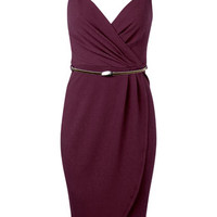 Burgundy Wrap Pencil Dress - View All - New In