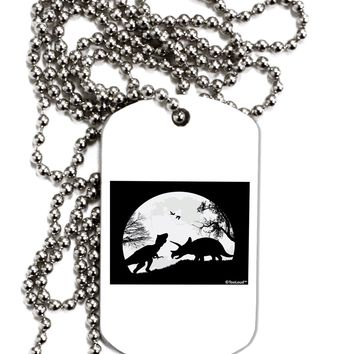 T-Rex and Triceratops Silhouettes Design Adult Dog Tag Chain Necklace by TooLoud