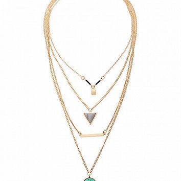 Golden Geo And Stone Pendant Multirow Necklace