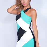 Color Block Fitted Dress - Mint and Black