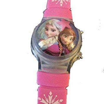 """Frozen """" Elsa and Anna """" Flip Top Digital Plastic Watch w/ Floating Star and Lights"""