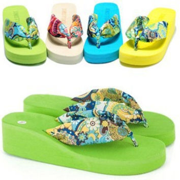Summer bohemia flower flip flops platform wedges for women sandals platform flip slippers beach shoes