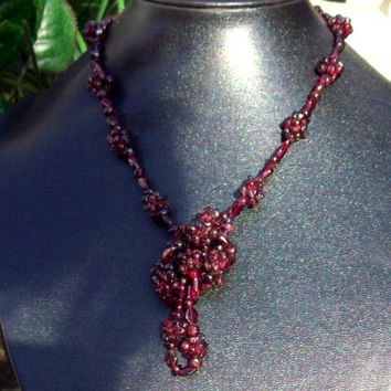 GORGEOUS GARNET ll Deep red Garnet stone necklace, long garnet necklace, garnet jewelry, garnet