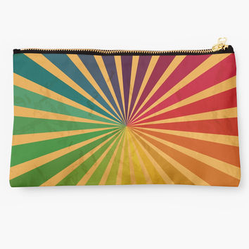 'Rainbow Colors Rays | Grunge Texture Spectrum' Studio Pouch by Foxeye Daisy