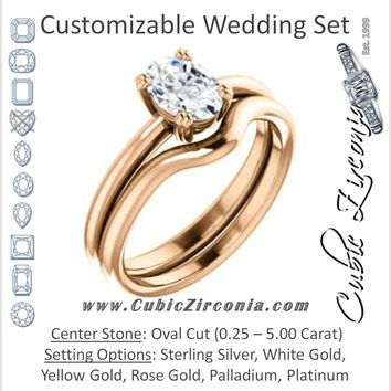 CZ Wedding Set, featuring The Venusia engagement ring (Customizable Oval Cut Solitaire with Thin Band)