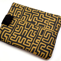 Hand Crafted Tablet Case from Brown Geometric Fabric/Case for:iPad,Kindle Fire HDX,Samsung Galaxy Tab, Google Nexus, iPad Air, Nook HD