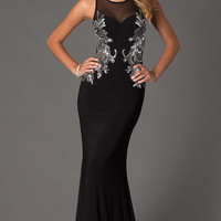 Long Black High Neck Formal Gown