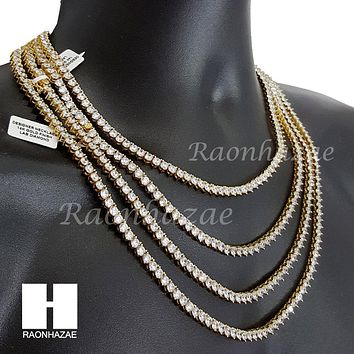 "Quality 3 Prong Choker Tennis Necklace Set Lab Diamond 5mm 18-24"" Chain Set M1"
