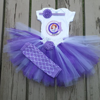 Sofia The First Birthday Outfit - Onesuit or Shirt - Leg Warmers - Skirt - Personalized